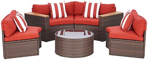 SUNCROWN 5-Piece Outdoor Sectional Half Moon Conversation Set, All Weather Brown Wicker Sofa with Thick Cushion (Red)