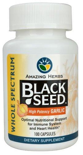 100 High Potency Garlic - Amazing Herbs Black Seed? with High Potency Garlic -- 100 Capsules - 2pc