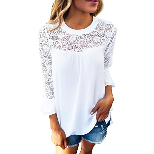 Asymmetric Flounce Dress (TIFENNY Ladies 3/4 Sleeve Frill Tops Hollow Lace Stitching T-shirt Blouse (L, White))