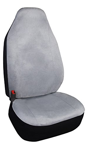 Grey Bucket Seat Covers - One High Back Bucket Seat Protector Grey Car Seat Cover Front, Universal Fits SUV Trucks Cars, Airbag Compatible