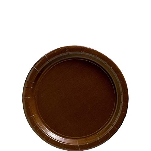 Brown Plates Paper - Chocolate Brown Big Party Pack - Dessert Plates (50 count)