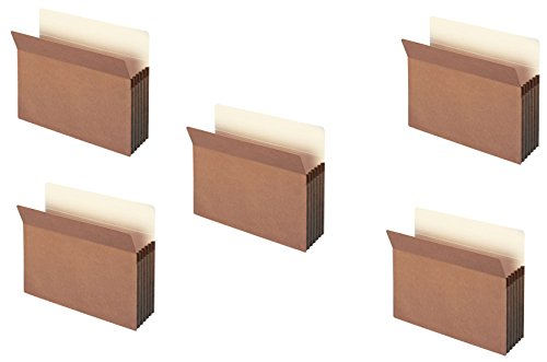 Smead File Pocket, Straight-Cut Tab, 5.25 inches Expansion, Letter Size, Redrope, 10 per Box (73234) oilpBk, 5 Pack by Smead