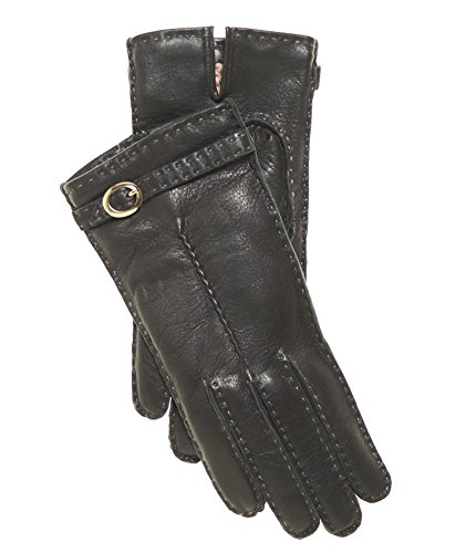 Fratelli Orsini Women's Handsewn Cashmere Lined Deerskin Gloves with Buckle Size 7 Color Black by Fratelli Orsini