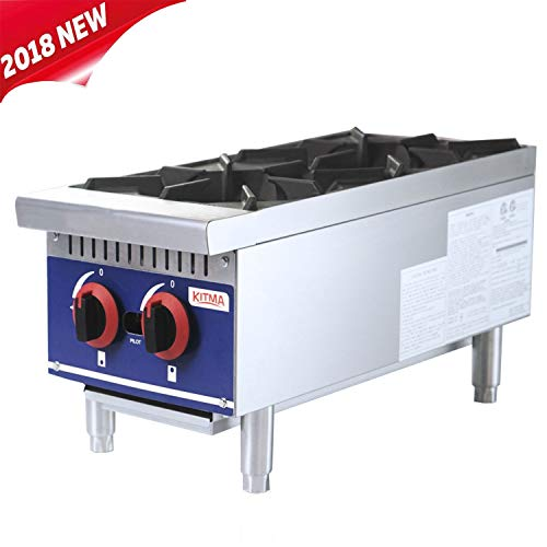 Commercial Countertop Hot Plate - KITMA 12 Inches 2 Burner Natural Gas Range - Restaurant Equipment for Soups, ()