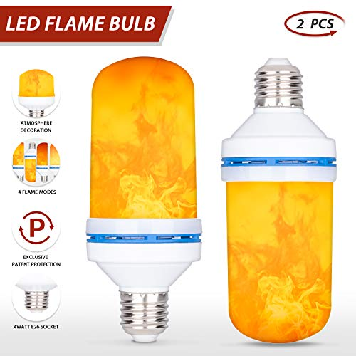 LED Flame Effect Light Bulb,E26 E27 4W 4 Modes with Gravity Induced Decorative Light Fire Flickering Atmosphere Lighting Vintage Flaming Lamp for Holiday Hotel/Bar/Party/Home(2 Packs)