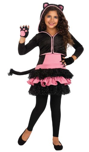 Kitty Hoodie (Black) Child Costume Size Large (Black Kitty Hoodie Girls Costumes)
