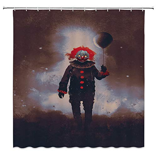 Clown Retro Shower Curtain Halloween Decor Weird Clown with Heavy Makeup Evil demon Vintage Clothes Balloon Stroll Ninght Nostalgic Art Print Waterproof Gray Brown Fabric Hooks Included 70x70 Inch]()