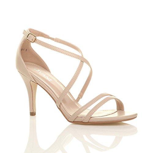Bretelles Mi De Mat Talon Haut De Crossover De Chaussures Parti Femmes Taille Dames Mariage Ajvani Sandales Nude Bas De EwqYPEp