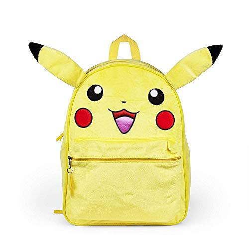 Pokemon Big Boys Plush Pikachu 16 Backpack with Wired Ears, Yellow - Back to School, Anime Character, Front Pocket, Locker Loop, 16 Inches