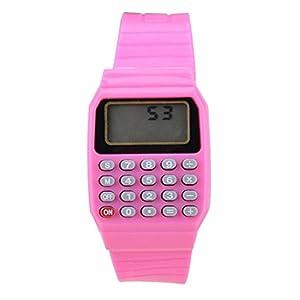 Reloj – SODIAL(R)Reloj electronico de silicona de multifuncion de calculadora para ninos y jovenes rosado