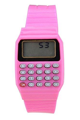 (TOOGOO Boys and Girls Silicone Date Display Electronic Watch Multifunction Calculator Watch Kids Calculator Watch Pink)