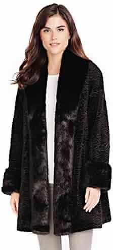 c7a8bccfb Donna Salyers' Fabulous-Furs Black Fox & Persian Lamb Tuxedo Faux Fur Coat