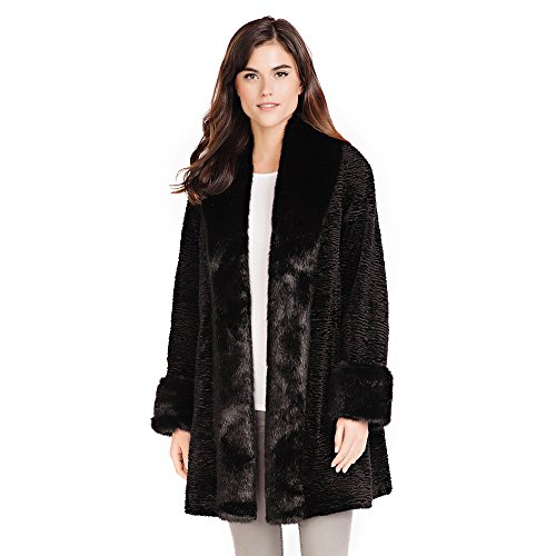 (Donna Salyers' Fabulous-Furs Black Fox & Persian Lamb Tuxedo Faux Fur Coat (Large))