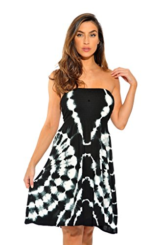 Riviera Sun 21612-BW-3X Strapless Tube Short Dress/Summer Dresses Black/White