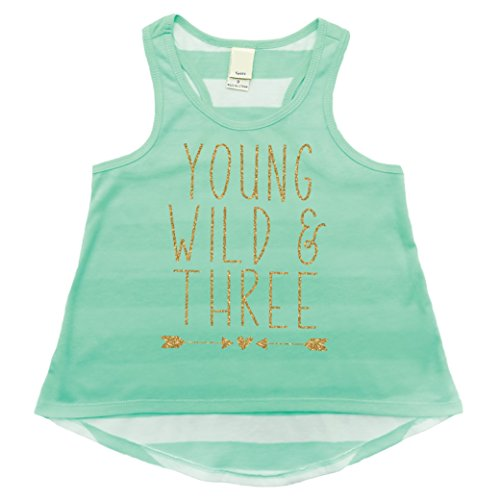Girl 3rd Birthday Outfit, Three Year Old Girl Birthday Tank Top (Ice Green,3T) Birthday Top