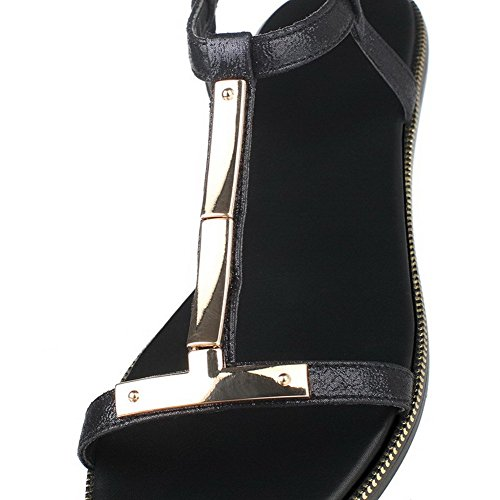 AllhqFashion Mujeres Mini Tacón Material Suave Tachonado Hebilla Puntera Abierta Sandalia Negro