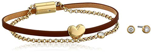 (Fossil Women's Heart Gold-Tone Stainless Steel Studs and Bracelet Box Set, One Size)