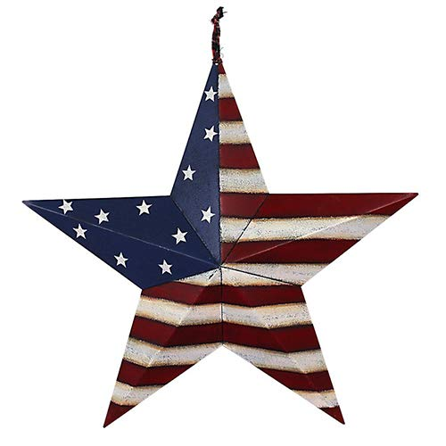 (Morning View 4th of July Metal Patriotic Barn Star Old Glory Americana Flag Star Outdoor Indoor Hanging Wall Decor Star 12inch)