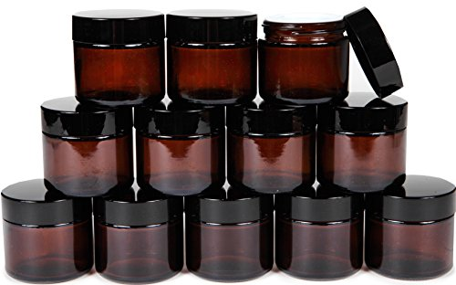 Vivaplex, 12, Amber, 2 oz, Round Glass Jars, with Inner Liners and black Lids 2 Ounce Travel Tin