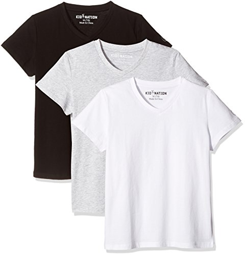 Kid Nation Kids' 3-Pack 100% Cotton Tag-Free Short-s Leeve Basic Jersey V-Neck T-Shirt for Boys or Girls S Black + White + Gray Heather