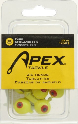 Apex Jig Heads (Pack of 8), Chartreuse/Yellow, 3/8-Ounce