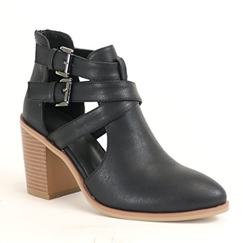 (Arider Women's Ankle Bootie with Low Heel Closed Toe Side Buckle Back Zipper - Black 10)