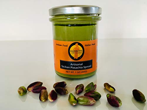 Giannetti Artisans Sicilian Artisanal Pistachio Spread with NO PALM OIL - Imported from Bronte, Sicily - 7.05 OZ