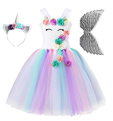 Unicorn Tutu Party Dress for Girls - Flower Pageant Princess Costume with Headband and Wings (10-12Y) -