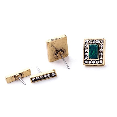 Lares Domi Vintage Gold-tone Crystal Incrusted Malachite Inlay Art Deco Stud Earrings