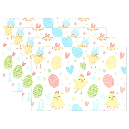 NMCEO Place Mats Cute Chicks Easter Eggs Personalized Table Mats for Kitchen Dinner Table Washable PVC Non-Slip Insulation 1 ()