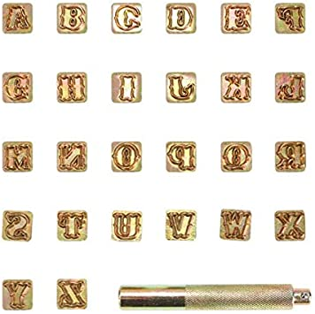 Juego de sellos de alfabeto de cuero 42 piezas Kit de tallado de impresi/ón artesanal Punz/ón de sello de cuero de 3 mm Punz/ón de sello de n/úmero con 1 mango para artesan/ía en cuero