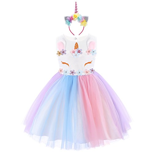 Baby Girls Unicorn Rainbow Party Dress Toddler Sleeveless Princess Birthday Wedding Dress Halloween Dressing Up Costumes with Headband 6-7 Years by FYMNSI