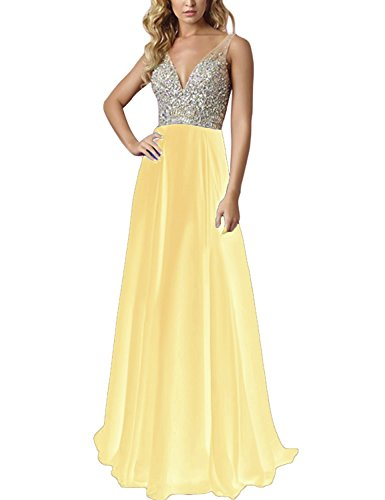 BessDress neck Top Dresses Prom Party Evening Yellow line BD213 V A Long Dresses Beads 554rn