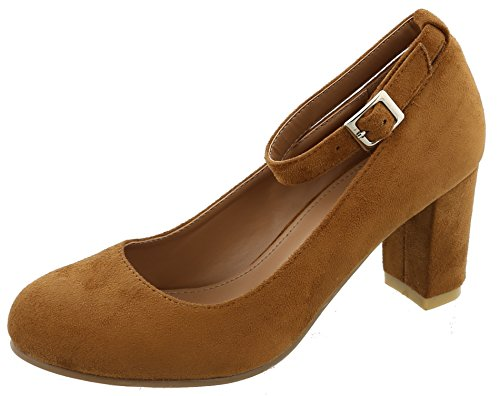 Pumps Heel Round Stacked Toe (Top Moda Women's Ankle Strappy Closed Round Toe Chunky Stacked Block Heel (8.5 B(M) US, Tan))