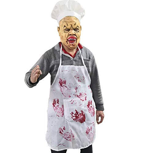 ifkoo Terror Chef Scary Clown Death Masks Props Bloody Butcher Mask Halloween Party Novelty Latex Mask (Hat &mask+apron) (Hat &Mask+apron) -