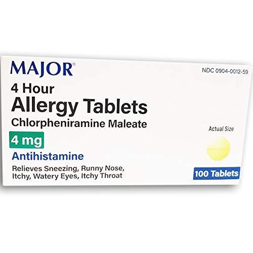 ALLERGY 4MG TAB CHLORPHENIRAMINE MALEATE-4 MG Yellow 100 TABLETS UPC 309040012593 by Major Pharmaceuticals