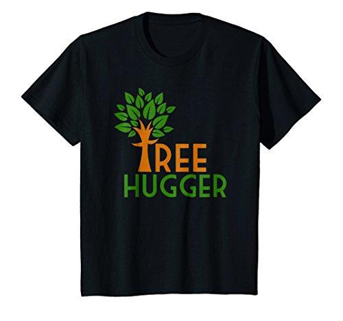 Black T-shirt Hugger (Kids Tree Hugger / Treehugger - Trendy Environmental T-Shirt 4 Black)