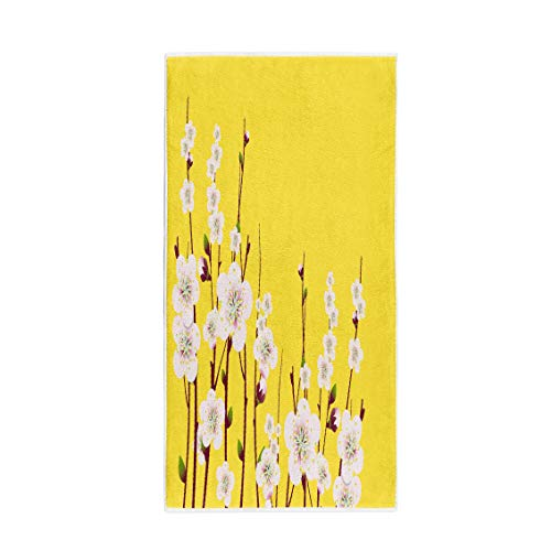 (Semtomn 14 x 30 Inches Bath Towel Green Blossom Spring Apricot Blossoming Branch on Bright Pink Soft Absorbent Travel Guest Decor Hand Towels Washcloth for Bathroom(One Side Printing))