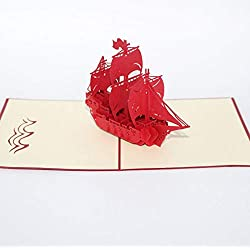 ForShop 3D Pop Up Postcard Birthday Christmas New Year Folding Kirigami Card for Wedding Valentine's Day Pirate Ship Greeting Cards