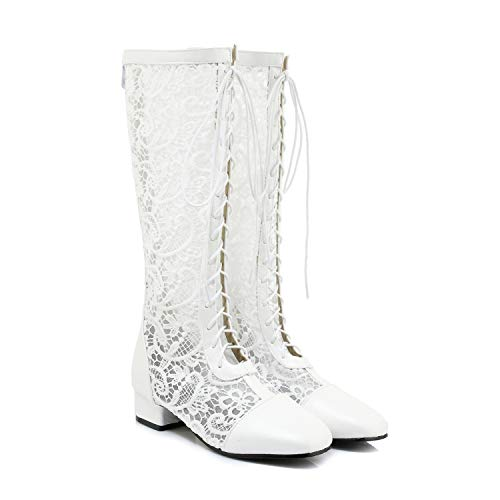 - Women Summer Lace Up Round Toe Chunky Heel Knee High Boots Gladiator Shoes Women,White,10