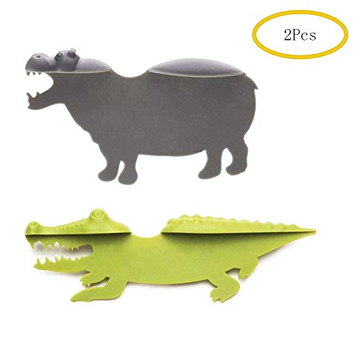 Eraimp Novelty Bookmarks for Kids, Cute Animal Funny Bookmarks - Hippo&Crocodile Swims in The Book for School Library Office Home-2Pcs