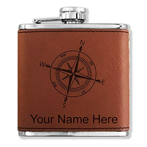 Faux Leather Flask, Compass Rose, Personalized Engraving Included (Dark Brown)