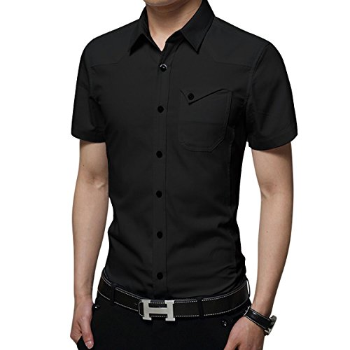 LOCALMODE Men's Military Slim Fit Dress Shirt Casual Short Sleeve Button Down Dress Shirts Black S Breathable Rug By Shirt