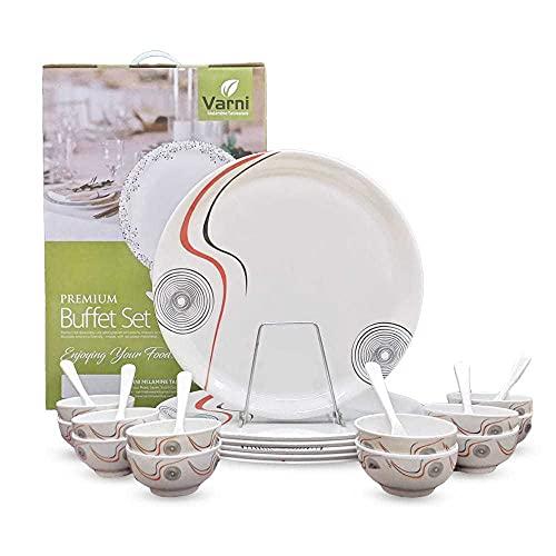prisha fashion Present Melamine Tableware Exclusive Melamine Dinnerware Set,Microwave Safe Dinner Set [Piece of 24]