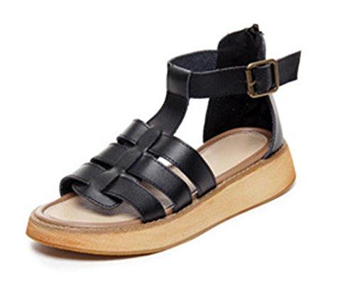 Frau Sommer Sandalen Plateau-Schuhe Steigung mit der geöffneten Zehe flache beiläufige Sandalen Frauen black