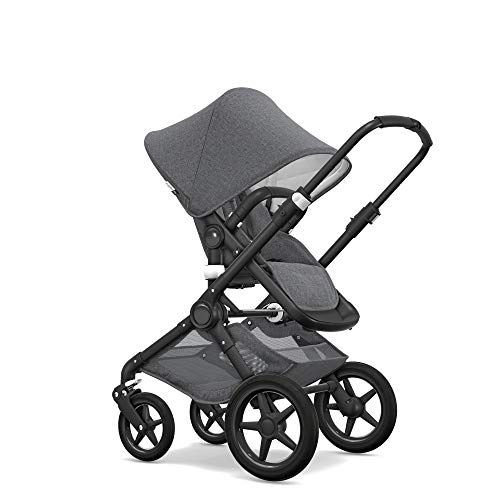 (Bugaboo Fox Classic Complete Stroller, Black/Grey Mélange - Fully-Loaded Foldable Stroller with Advanced Suspension and All-Terrain Wheels)