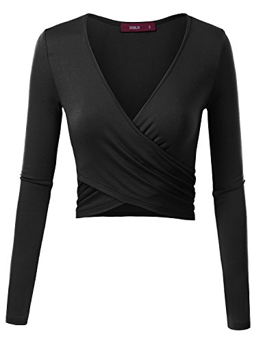 Doublju Deep V-Neck Fitted Surplice Wrap Crop Top For Women With Plus Size Black Small