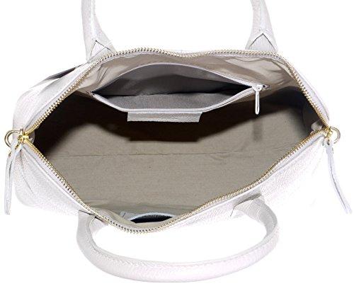 Sac Primo Sacchi ® en cuir, texture italienne, style bowling, sac à main ou sac à bandoulière.   Comprend un étui de protection en crème de marque