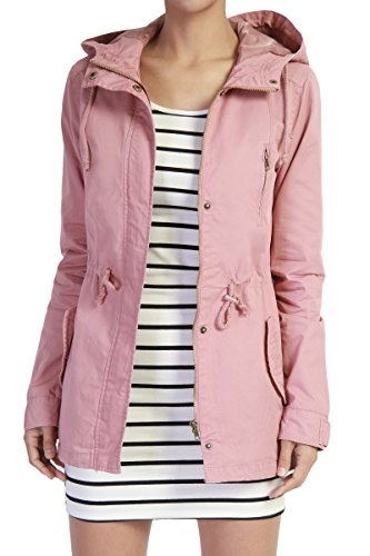 TheMogan Women's Washed Twill Hooded Utility Anorak Jacket Dusty Rose S