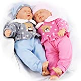 The Magic Toy Shop 18' Twins Baby Dolls Twin Babies Cuddles Baby Girl Boy New Born Doll with 2 Extra Outfits